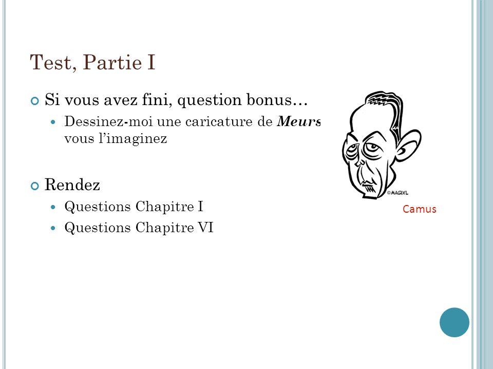 Test, Partie I Si vous avez fini, question bonus… Dessinez-moi une caricature de Meursault tel que vous limaginez Rendez Questions Chapitre I Questions Chapitre VI Camus