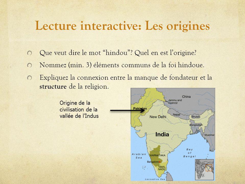 Lecture interactive: Les origines Que veut dire le mot hindou.