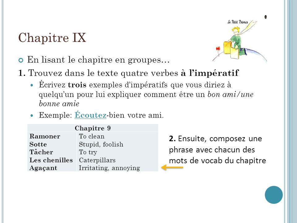 Chapitre IX En lisant le chapitre en groupes… 1.