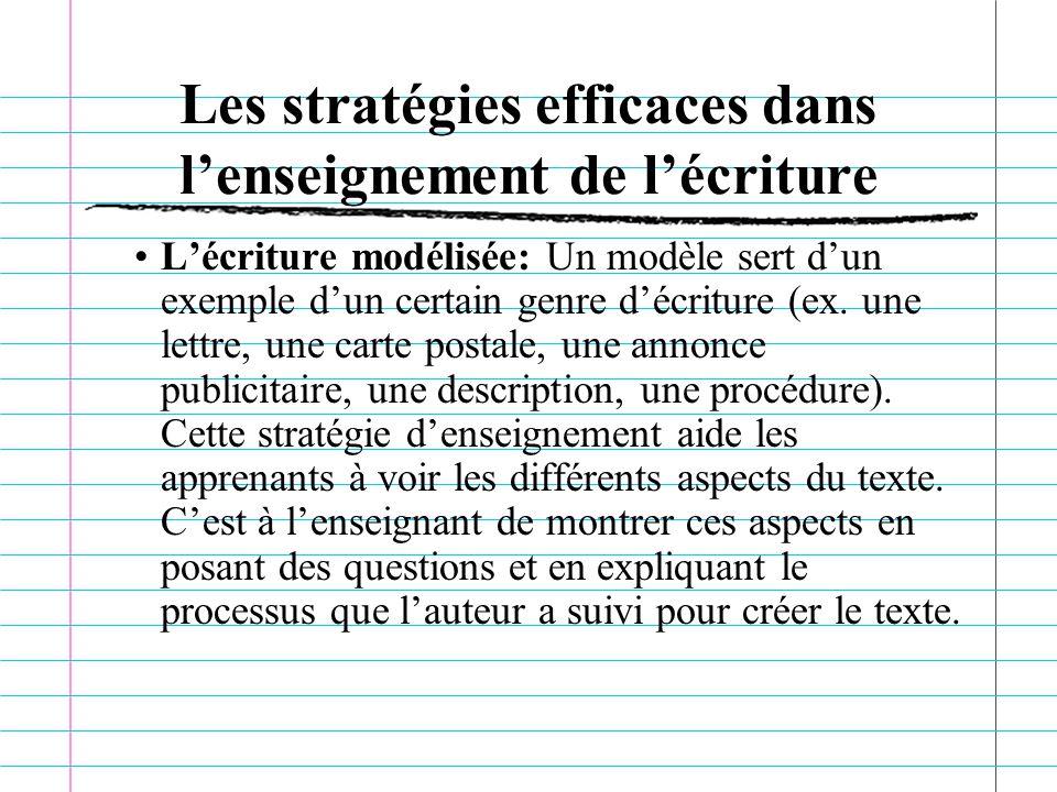 Les stratégies efficaces dans lenseignement de lécriture Lécriture modélisée: Un modèle sert dun exemple dun certain genre décriture (ex.