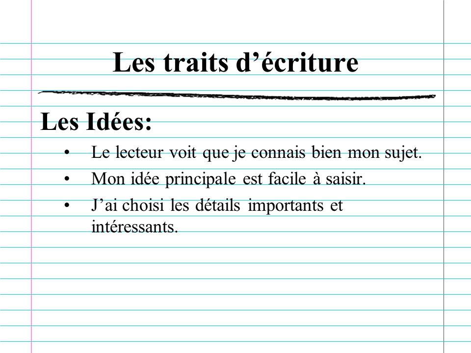 Les traits décriture Les Idées: Le lecteur voit que je connais bien mon sujet.