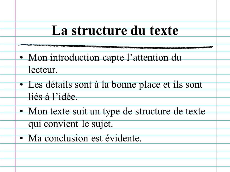 La structure du texte Mon introduction capte lattention du lecteur.