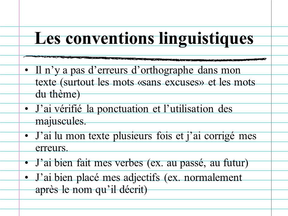 Les conventions linguistiques Il ny a pas derreurs dorthographe dans mon texte (surtout les mots «sans excuses» et les mots du thème) Jai vérifié la ponctuation et lutilisation des majuscules.