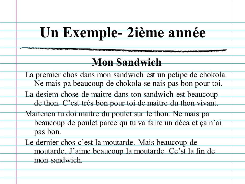 Un Exemple- 2ième année Mon Sandwich La premier chos dans mon sandwich est un petipe de chokola.