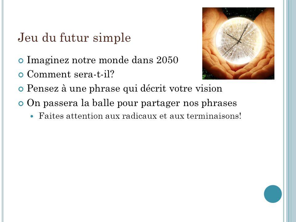 Jeu du futur simple Imaginez notre monde dans 2050 Comment sera-t-il.
