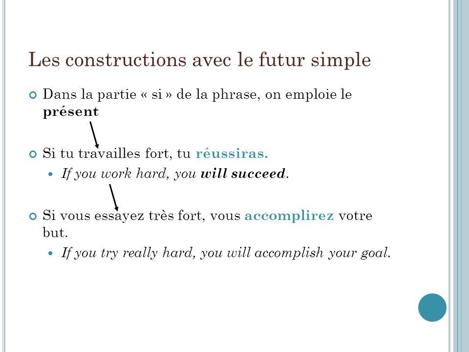 Les constructions avec le futur simple Dans la partie « si » de la phrase, on emploie le présent Si tu travailles fort, tu réussiras.