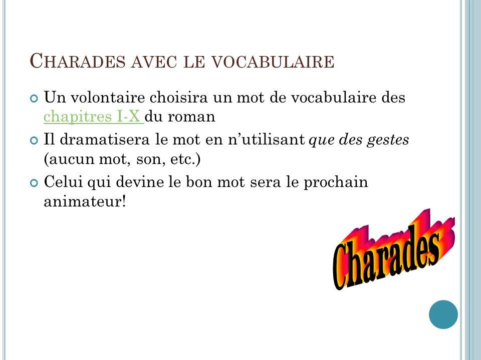 A FAIRE AUJOURD HUI Charades – Le vocabulaire Quiz de vocab (Chapitres VIII-XI) Les leçons – Chapitre XI Lecture du Chapitre XII (le buveur) Explicati