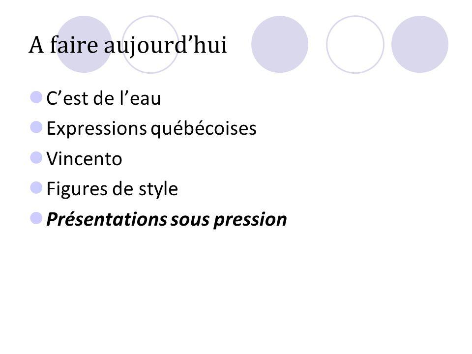 A faire aujourdhui Cest de leau Expressions québécoises Vincento Figures de style Présentations sous pression
