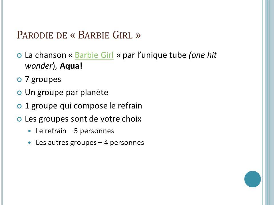 P ARODIE DE « B ARBIE G IRL » La chanson « Barbie Girl » par lunique tube (one hit wonder), Aqua!Barbie Girl 7 groupes Un groupe par planète 1 groupe qui compose le refrain Les groupes sont de votre choix Le refrain – 5 personnes Les autres groupes – 4 personnes