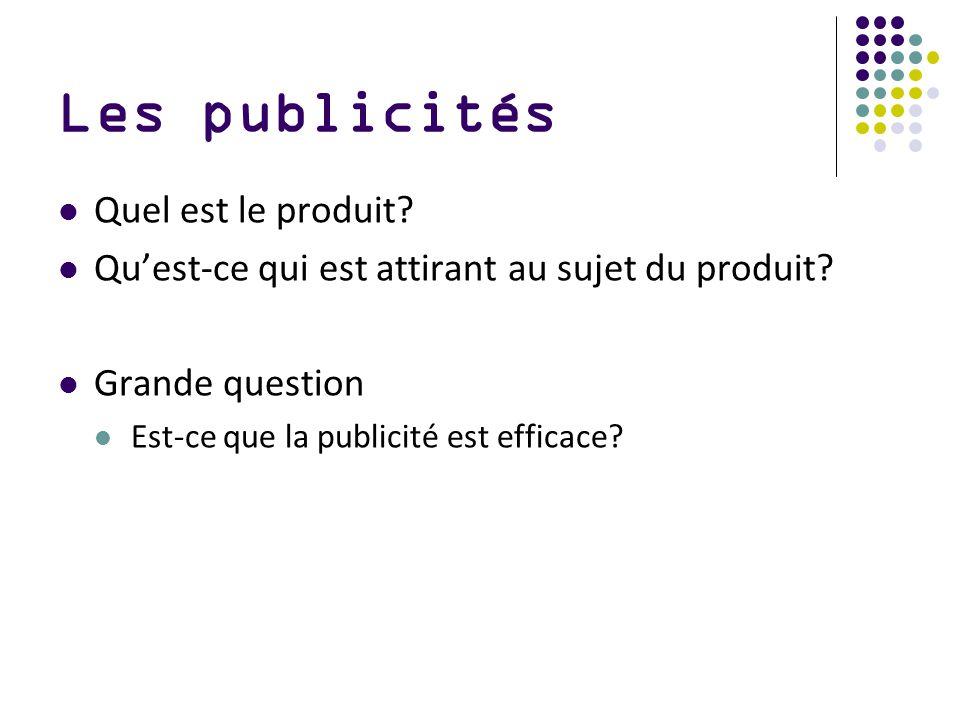 Les publicités Quel est le produit? Quest-ce qui est attirant au sujet du produit? Grande question Est-ce que la publicité est efficace?