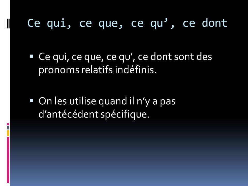 Ce qui, ce que, ce qu, ce dont exemple en françaisexemple en anglais ce quiCe qui m intéresse, c est la langue.What interests me is language.