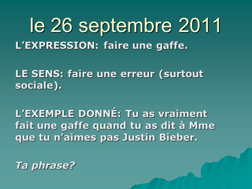 le 27 septembre 2011 LEXPRESSION: faire des bêtises.