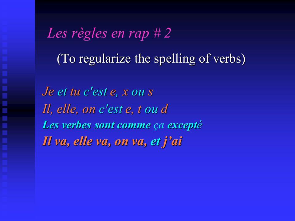 Les règles en rap # 2 (To regularize the spelling of verbs) (To regularize the spelling of verbs) Je et tu c'est e, x ou s Il, elle, on c'est e, t ou