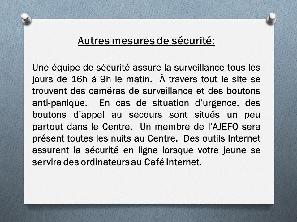 Autres mesures de sécurité: Une équipe de sécurité assure la surveillance tous les jours de 16h à 9h le matin.