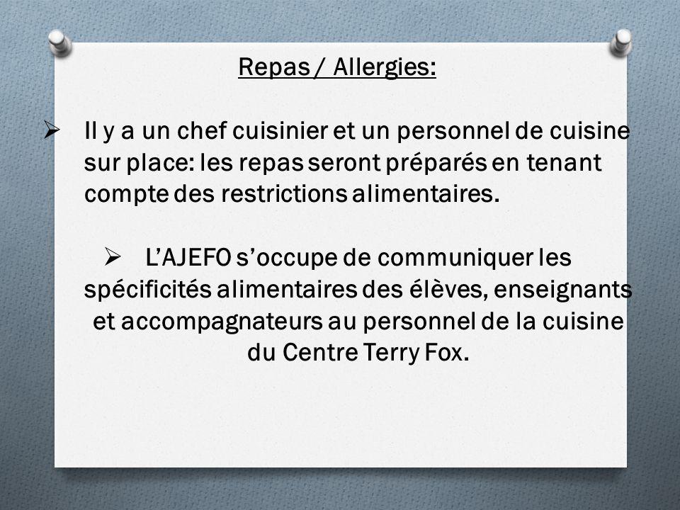 Repas / Allergies: Il y a un chef cuisinier et un personnel de cuisine sur place: les repas seront préparés en tenant compte des restrictions alimentaires.