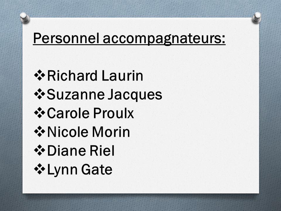 Personnel accompagnateurs: Richard Laurin Suzanne Jacques Carole Proulx Nicole Morin Diane Riel Lynn Gate
