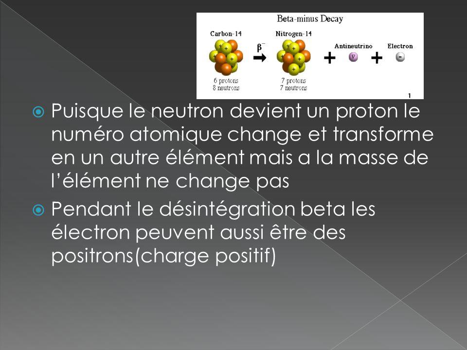 Puisque le neutron devient un proton le numéro atomique change et transforme en un autre élément mais a la masse de lélément ne change pas Pendant le