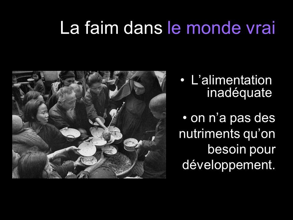 La faim dans le monde vrai Lalimentation inadéquate on na pas des nutriments quon besoin pour développement.