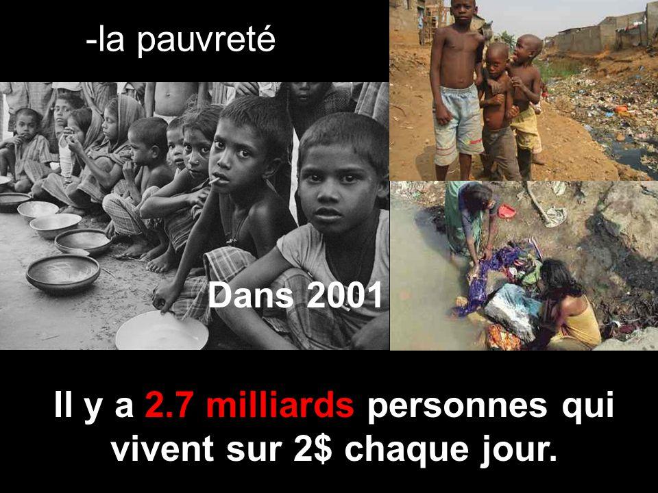 -la pauvreté Dans 2001 Il y a 2.7 milliards personnes qui vivent sur 2$ chaque jour.