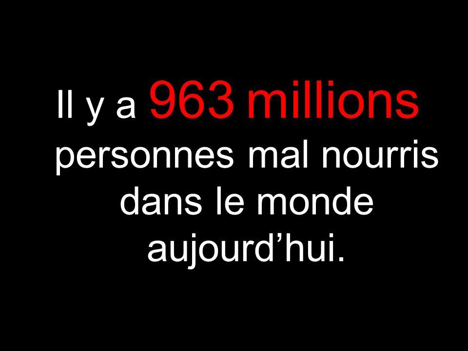 Il y a 963 millions personnes mal nourris dans le monde aujourdhui.