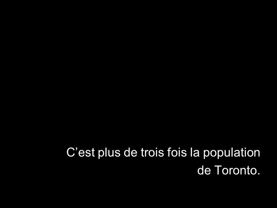 Cest plus de trois fois la population de Toronto.