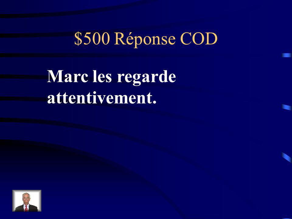 $500 Question COD Marc regarde les animaux attentivement