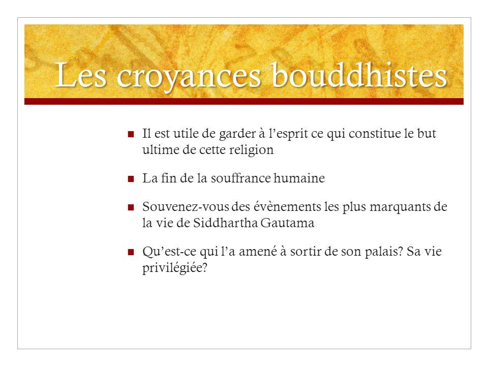 Les croyances bouddhistes Il est utile de garder à lesprit ce qui constitue le but ultime de cette religion La fin de la souffrance humaine Souvenez-v