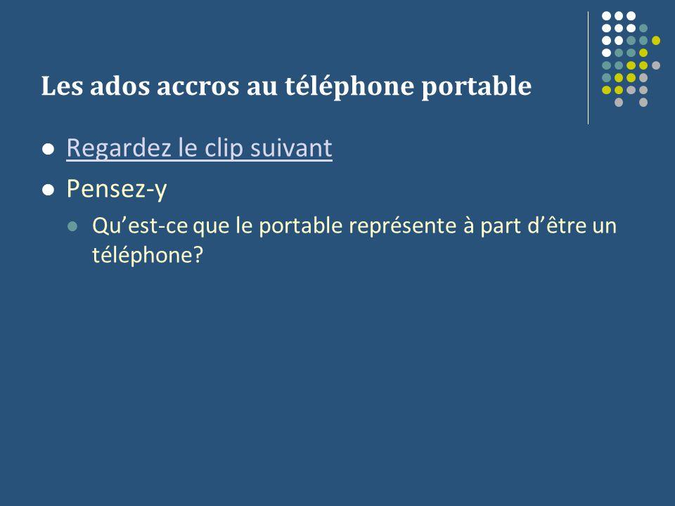 Les ados accros au téléphone portable Regardez le clip suivant Pensez-y Quest-ce que le portable représente à part dêtre un téléphone