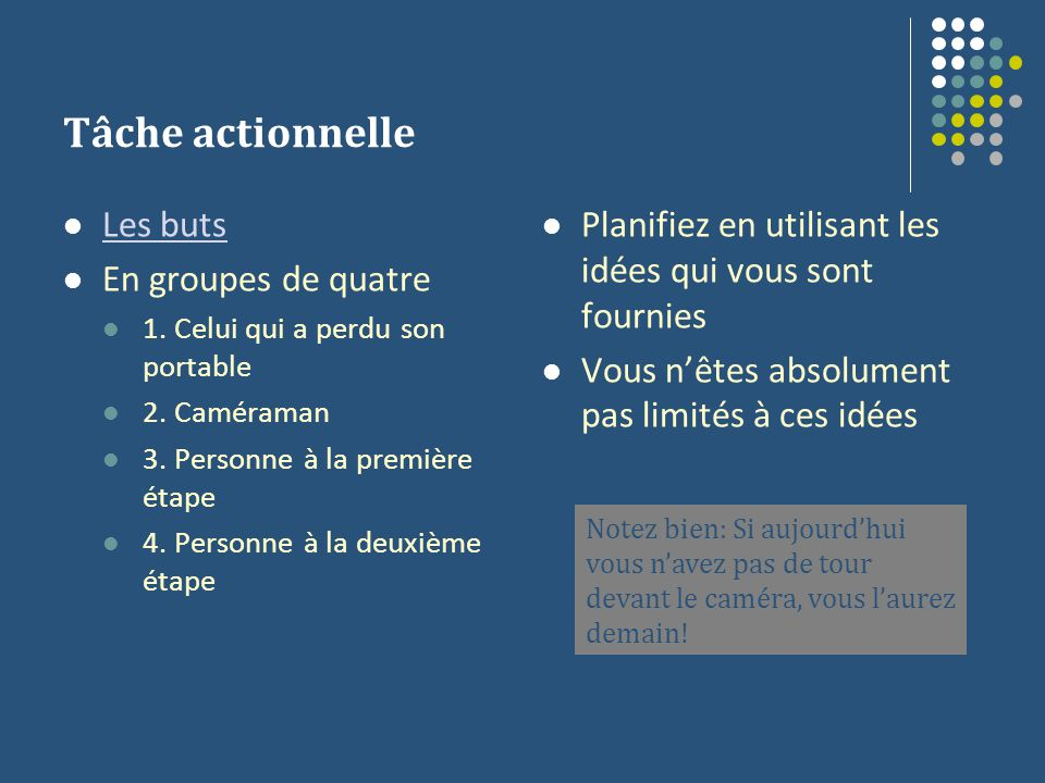Tâche actionnelle Les buts En groupes de quatre 1.