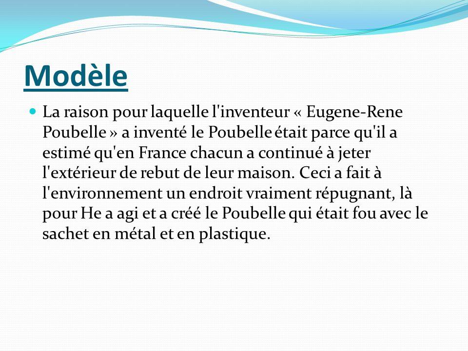 Modèle La raison pour laquelle l'inventeur « Eugene-Rene Poubelle » a inventé le Poubelle était parce qu'il a estimé qu'en France chacun a continué à