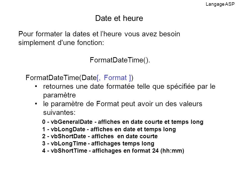 Pour formater la dates et lheure vous avez besoin simplement d'une fonction: FormatDateTime(). FormatDateTime(Date[, Format ]) retournes une date form