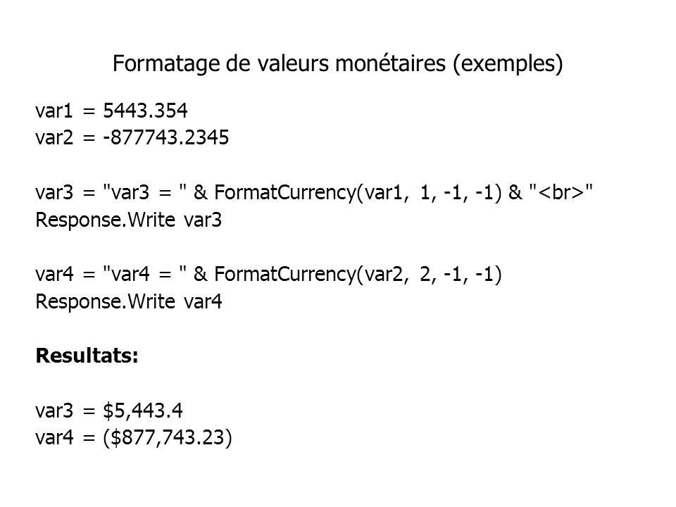 Formatage de valeurs monétaires (exemples) var1 = 5443.354 var2 = -877743.2345 var3 =