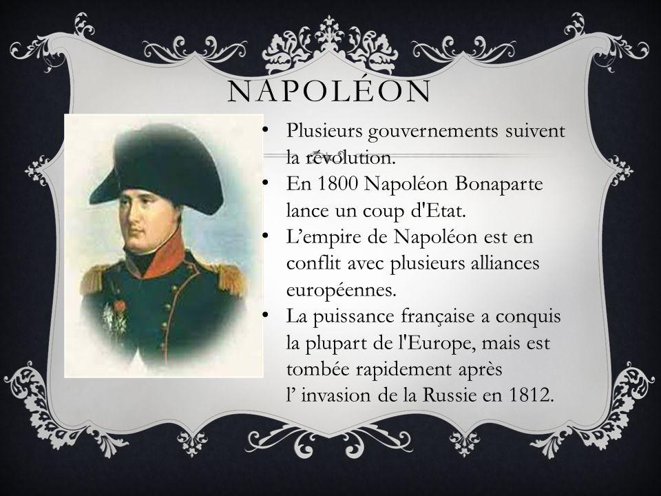 NAPOLÉON Plusieurs gouvernements suivent la révolution. En 1800 Napoléon Bonaparte lance un coup d'Etat. Lempire de Napoléon est en conflit avec plusi