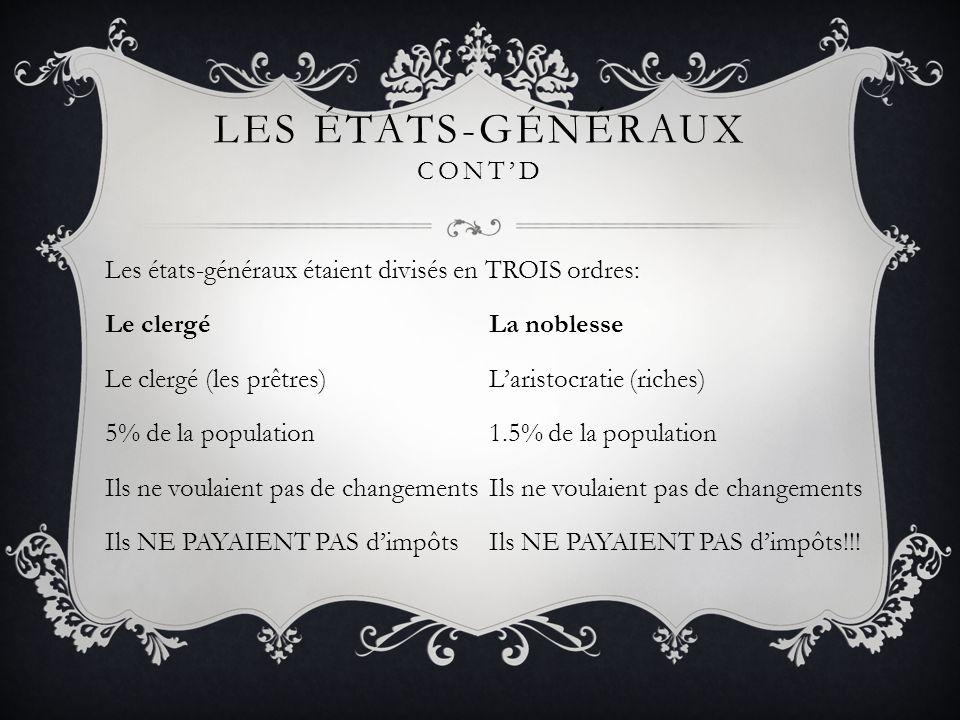 LES ÉTATS-GÉNÉRAUX CONTD Les états-généraux étaient divisés en TROIS ordres: Le clergéLa noblesse Le clergé (les prêtres)Laristocratie (riches) 5% de