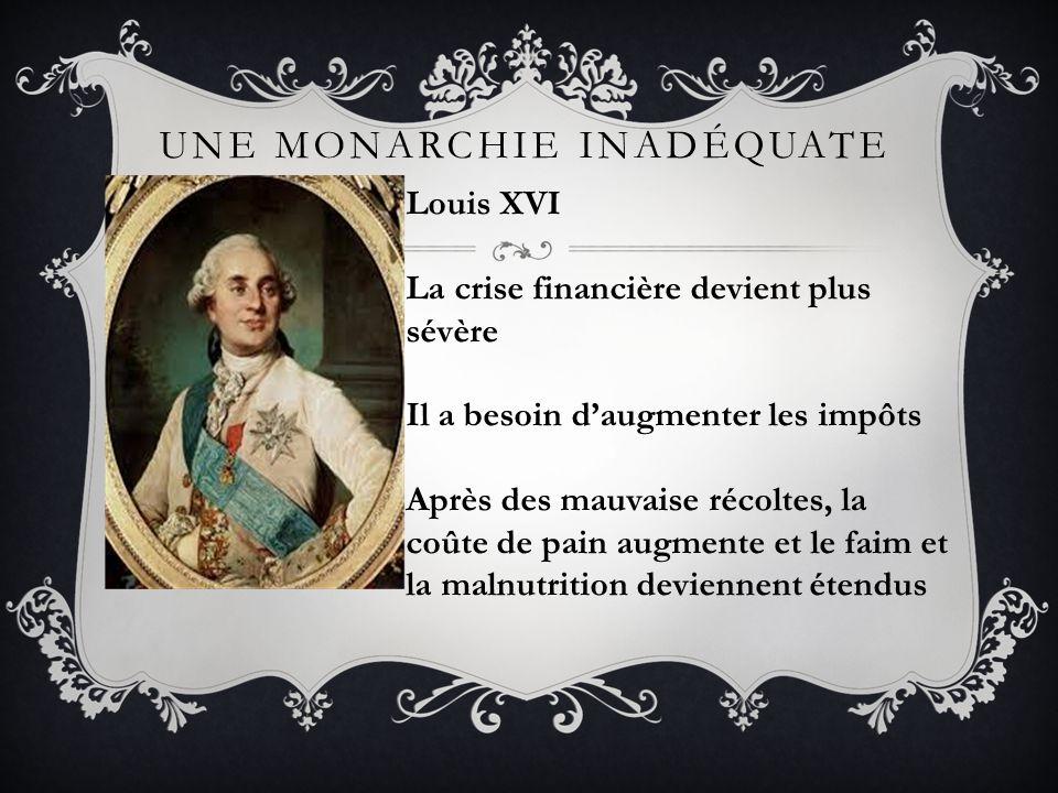 UNE MONARCHIE INADÉQUATE Marie Antoinette Archiduchesse Autrichienne Sest mariée Louis XVI quand elle avait 15 ans Mode de vie excessif – Mme Déficit Interférait souvent avec les politiques Nétait pas populaire!