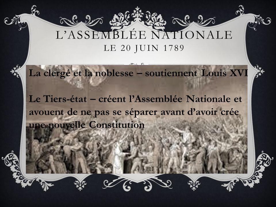 LASSEMBLÉE NATIONALE LE 20 JUIN 1789 La clergé et la noblesse – soutiennent Louis XVI Le Tiers-état – créent lAssemblée Nationale et avouent de ne pas