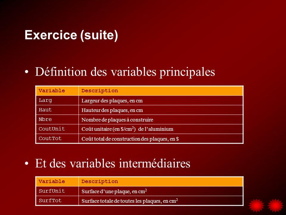 Exercice (suite) Définition des variables principales Et des variables intermédiaires VariableDescription Larg Largeur des plaques, en cm Haut Hauteur