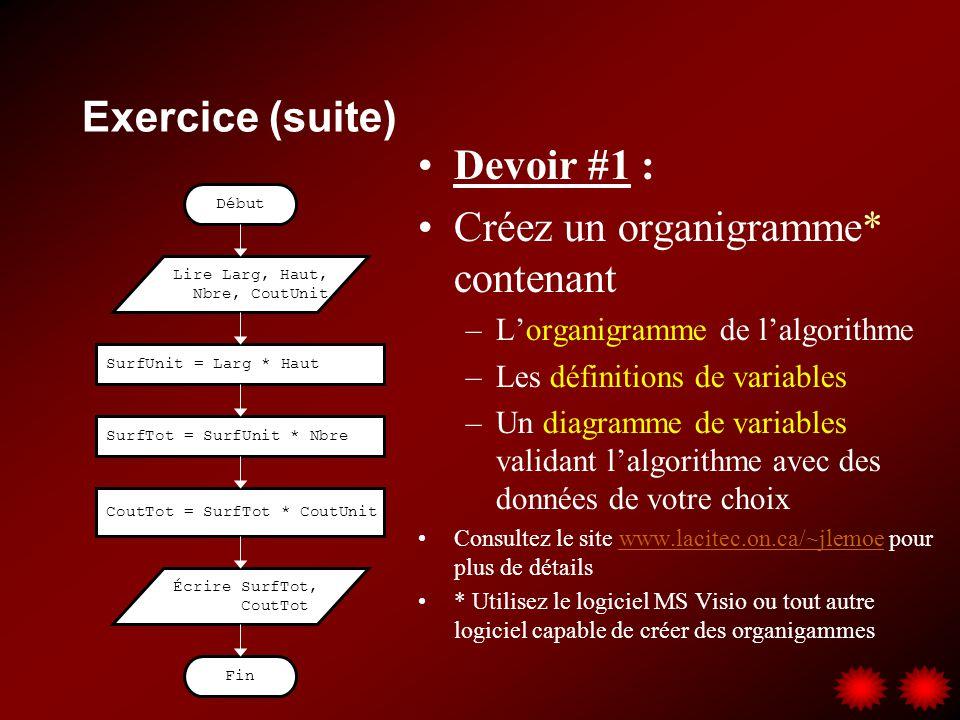 Exercice (suite) Devoir #1 : Créez un organigramme* contenant –Lorganigramme de lalgorithme –Les définitions de variables –Un diagramme de variables v