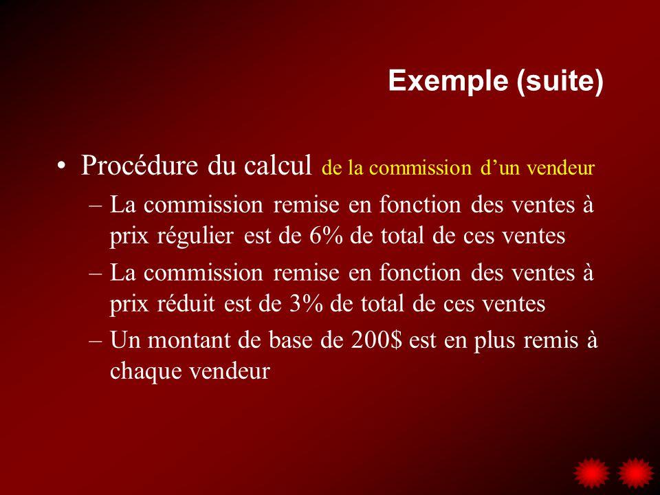 Exemple (suite) Procédure du calcul de la commission dun vendeur –La commission remise en fonction des ventes à prix régulier est de 6% de total de ce