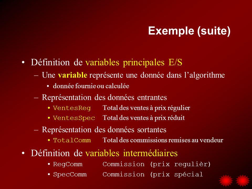 Exemple (suite) Notes sur lorganigramme du programme –Lutilisation de variables assurent lindépendance de lalgorithme vis-à-vis les données manipulées –Les symboles sont numérotés uniquement pour fins de présentation Lire VentesReg, VentesSpec RegComm = VentesReg * 0.06 Début Fin SpecComm = VentesSpec * 0.03 TotalComm = RegComm + SpecComm + 200 Écrire TotalComm 1.