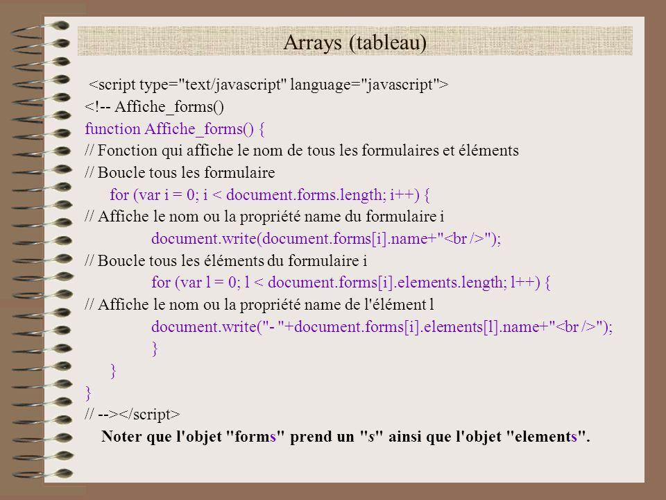Arrays (tableau) <!-- Affiche_forms() function Affiche_forms() { // Fonction qui affiche le nom de tous les formulaires et éléments // Boucle tous les
