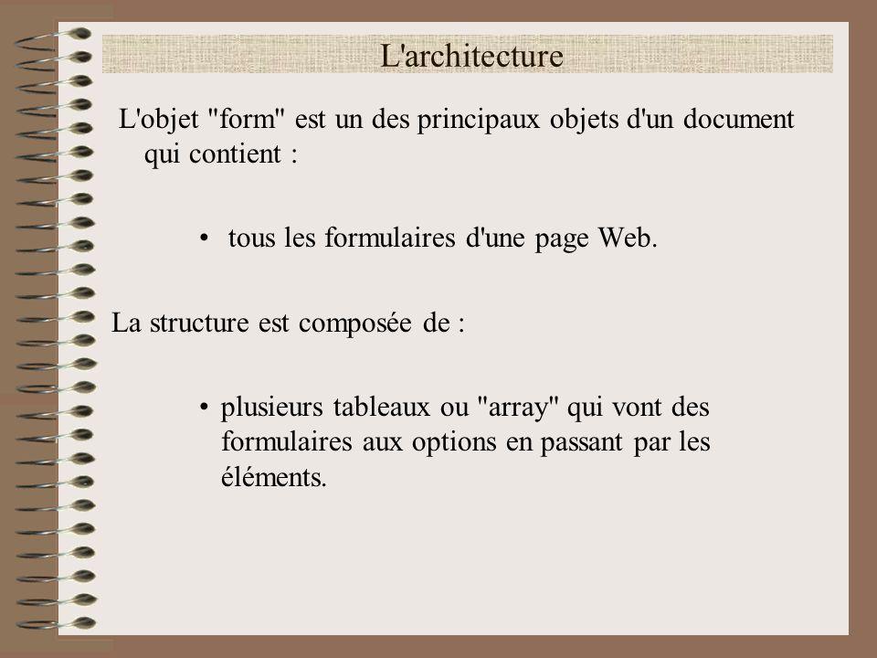 Arrays (tableau) <!-- Affiche_forms() function Affiche_forms() { // Fonction qui affiche le nom de tous les formulaires et éléments // Boucle tous les formulaire for (var i = 0; i < document.forms.length; i++) { // Affiche le nom ou la propriété name du formulaire i document.write(document.forms[i].name+ ); // Boucle tous les éléments du formulaire i for (var l = 0; l < document.forms[i].elements.length; l++) { // Affiche le nom ou la propriété name de l élément l document.write( - +document.forms[i].elements[l].name+ ); } // --> Noter que l objet forms prend un s ainsi que l objet elements .