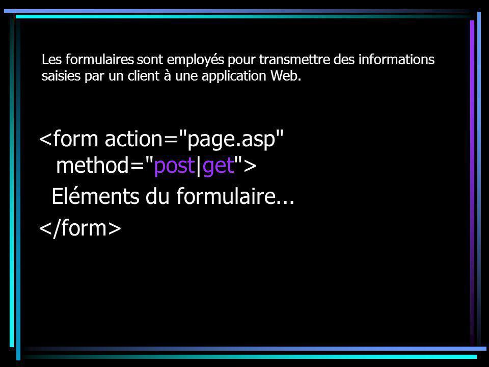 Les formulaires sont employés pour transmettre des informations saisies par un client à une application Web. Eléments du formulaire...