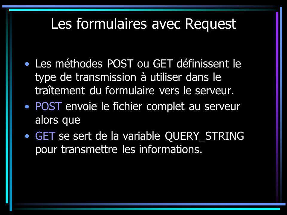 Les formulaires avec Request Les méthodes POST ou GET définissent le type de transmission à utiliser dans le traîtement du formulaire vers le serveur.