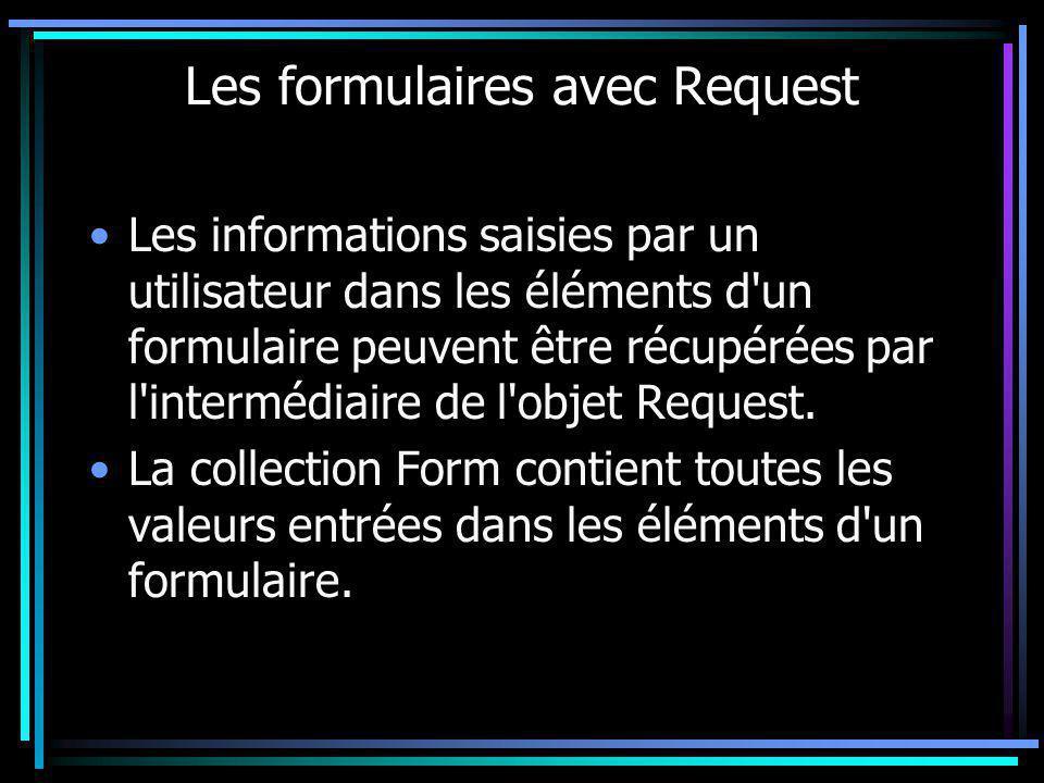 Les formulaires avec Request Les informations saisies par un utilisateur dans les éléments d'un formulaire peuvent être récupérées par l'intermédiaire