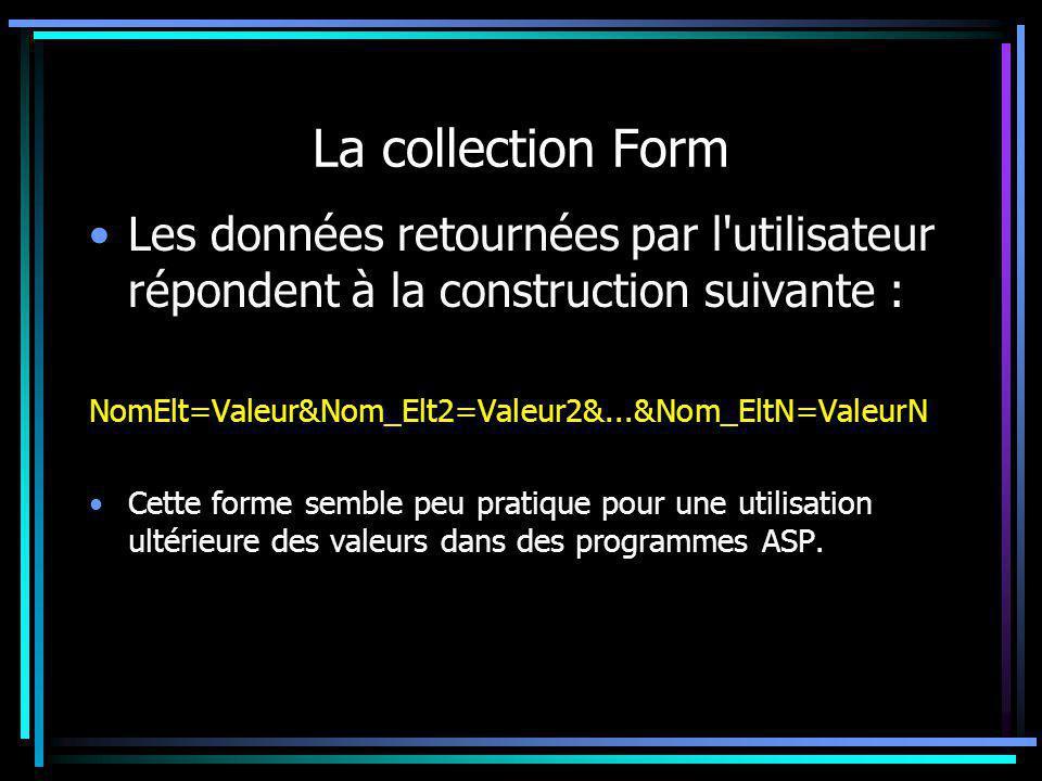 La collection Form Les données retournées par l'utilisateur répondent à la construction suivante : NomElt=Valeur&Nom_Elt2=Valeur2&...&Nom_EltN=ValeurN