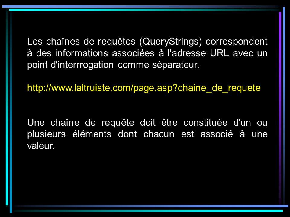 Les chaînes de requêtes (QueryStrings) correspondent à des informations associées à l adresse URL avec un point d interrrogation comme séparateur.