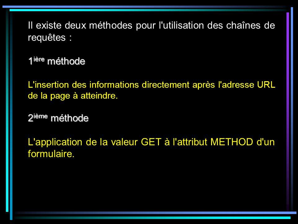 Il existe deux méthodes pour l utilisation des chaînes de requêtes : 1 ière méthode L insertion des informations directement après l adresse URL de la page à atteindre.