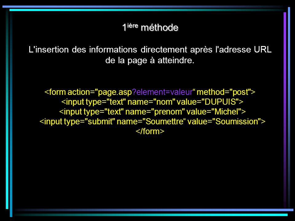 1 ière méthode 1 ière méthode L insertion des informations directement après l adresse URL de la page à atteindre.