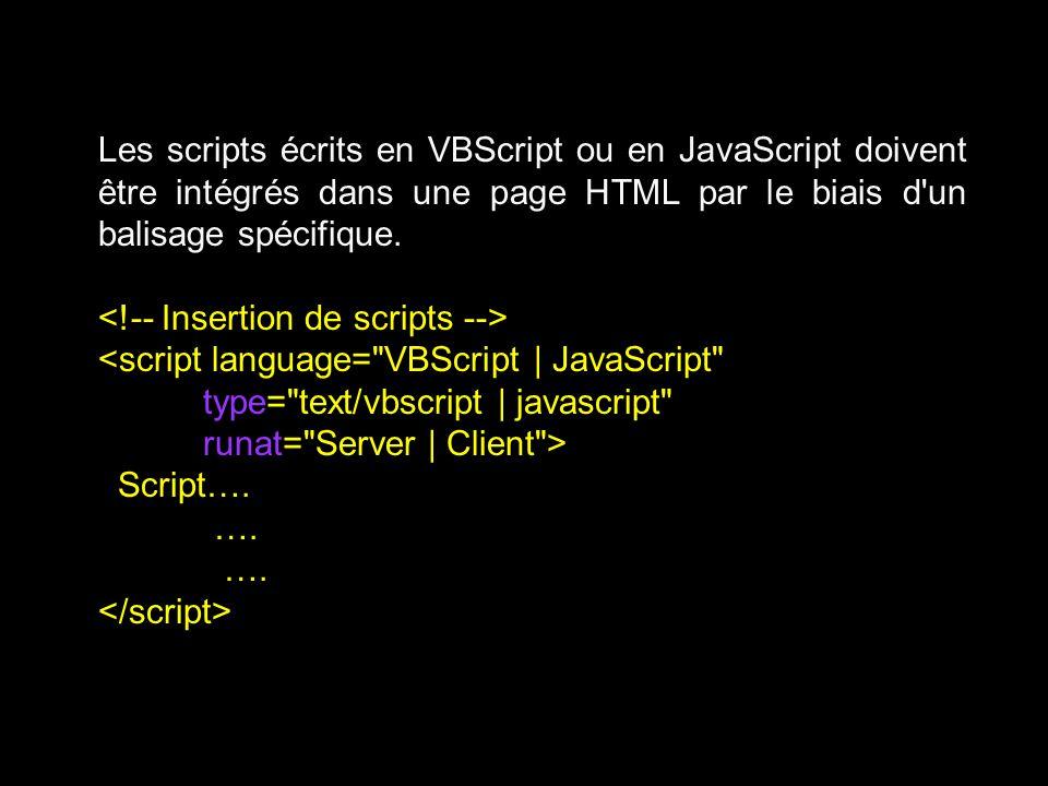 Les scripts écrits en VBScript ou en JavaScript doivent être intégrés dans une page HTML par le biais d un balisage spécifique.
